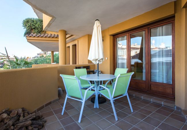 Nice terrace of an apartment in Torrevieja with overlooking garden